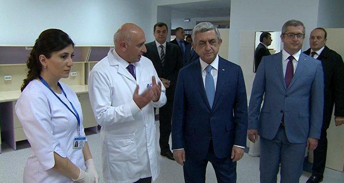 Հայաստանի նախագահ Սերժ Սարգսյանը ներկա է գտնվել  արյունաբանական արդիականացված կենտրոնի բացմանը
