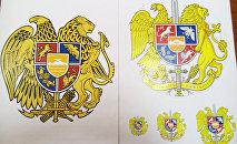ՀՀ զինանշանը (ձախից) և Աղամյանի առաջարկած տարբերակը (աջից)